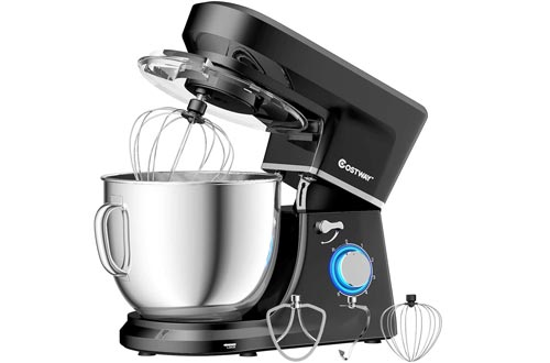 COSTWAY Stand Mixers, 6-Speed 7.5 QT Tilt-head Electric Kitchen Food Mixers 660W with Stainless Steel Bowl, Dough Hook, Beater, Whisk