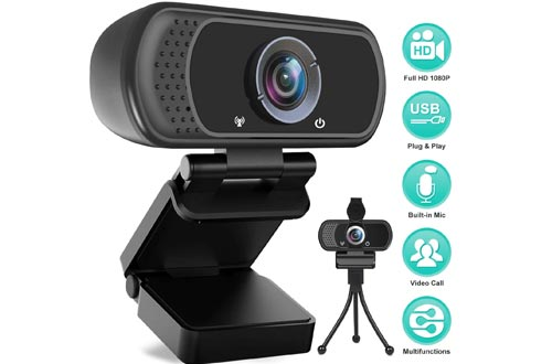 HD Webcams 1080P with Microphone, PC Laptop Desktop USB Webcams, Pro Streaming Computer Camera for Video Calling, Recording, Conferencing, Gaming, 110-Degree Widescreen Web Camera with Rotatable Clip