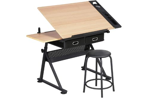 YAHEETECH Height Adjustable Drafting Draft Desk Drawing Tables Desk Tabletop Tilted Art Craft Work Station w/ 2 Storage Drawer and Stool