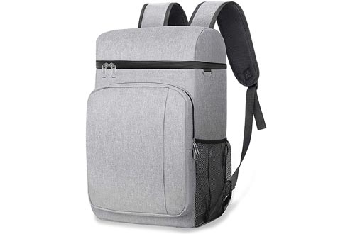 49 Cans Insulated Coolers Backpack, Leakproof Spacious Lightweight Soft Coolers Bag Backpack Coolers with Double Deck for Men Women to Work Beach Picnic Travel Trips, Grey