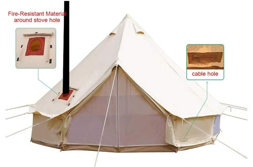 WINTENT 4 Season Cotton Canvas Bell Tents with Stove Hole and Electric Cable Hole