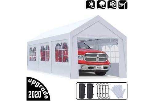 KING BIRD 10 x 20 ft Upgraded Heavy Duty Carport Car Canopy with Removable Sidewalls, Portable Garage Tent Boat Shelters with Reinforced Triangular Beams and 4 Weight Bags