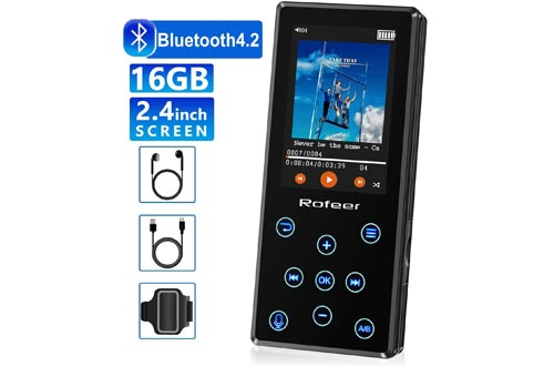 MP3 Players, 16GB MP3 Players with Bluetooth 4.2 HiFi Lossless Sound Portable Digital Music Players FM Radio Voice Recorder E-Book 2.4'' LCD, Support up to 128GB with Earphone & Armband