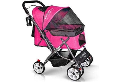 WONDERFOLD P1 Folding Pet Strollers Wagon for Dogs/Cats, 4 Wheels, Zipperless Entry, Storage Basket, Cup Holder