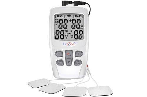 Progoo TENS Unit EMS Muscle Stimulators Pain Relief FDA Cleared Combo with 8 Reusable Electrodes, Teens&Seniors Unit for Pain,Free from Pain