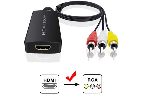 HDMI to Audio Video Converters, HDMI to RCA Converters Compatible HDMI to Older TV Adapter Compatible for Roku Streaming Stick Supports PAL/NTSC, 1080P (HDMI to AV Converter)