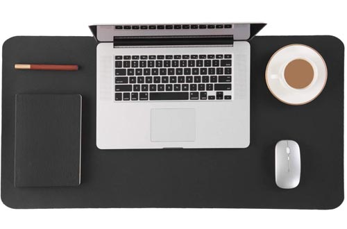 Bedsure Genuine Leather Desk Pads, Office Desk Mat Blotter on top of desks, Large Computer Desk Mat, Waterproof Non Slip Desk Pads Protector for Office and Home (Black, 17x35 inches)