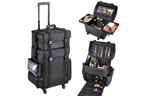 AW Classic Black 2in1 Soft Sided Rolling Makeup Cases Freelance Makeup Artist Cosmetic Organize Storage Travel Train Cases