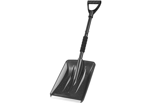 IPSXP Snow Shovels,Detachable Plastic Emergency Snow Shovels (31.5in/80cm) with Stainless Steel Pole and Aluminum Edged Wide Blade Shovels, Perfect for Car Driveway, Camping and Outdoor Emergency (Black)
