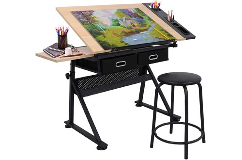 Adjustable Height Drafting Desk Drawing Tables Tiltable Tabletop for for Reading, Writing Art Craft w/Stool and Drawers (#1)