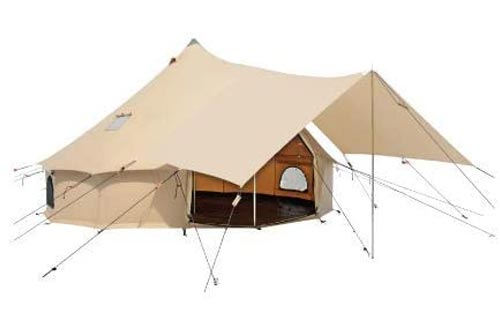 Awning for Premium 100% Cotton Canvas Bell Tents in Beige & White Color, Complete Canopy with Poles for All Season Camping and Glamping
