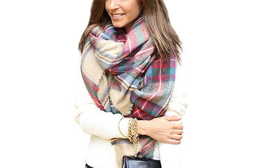 Dora Bridal Lady Women Blanket Oversized Tartan Scarfs Wrap Shawl Plaid Cozy Checked Pashmina