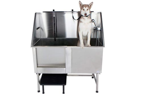 PawBest Stainless Steel Dog Grooming Bath Tubs with Ramp, Faucet, Hoses and Loops