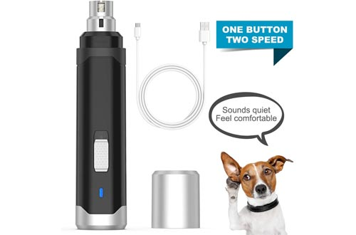 oneisall Dog Nail Grinders - Upgraded 2 Speed Quiet USB Rechargeable Professional Pet Nail Trimmer Paws Grooming & Smoothing Claw Care for Small Medium Large Dogs & Cats