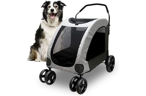 Petbobi Dog Strollers for Large Pet Jogger Strollers for 2 Dogs Breathable Animal Strollers with 4 Wheel and Storage Space Pet Can Easily Walk In/Out Travel up to 120 lbs