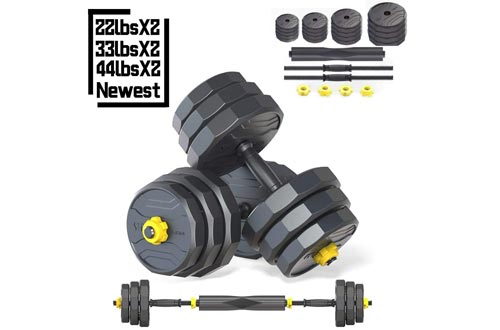 IRUI Adjustable Fitness Dumbbells Sets, Free Weights Dumbbells with Connecting Rod Used As Barbell for Gym Work Out Home Training Suitable for Men and Women 2 Pieces/Sets