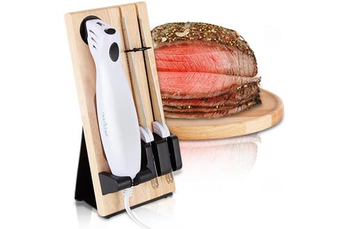 Nutrichef PKELKN16 Portable Electrical Food Cutter Knives Set with Bread and Carving Blades, Wood Stand, One Size, White (Pack of 4)