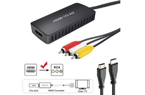 HDMI to RCA Converters, HDMI to Composite Video Audio Converters Adapter, HDMI to AV, Supports PAL/NTSC for TV Stick, Roku, Blu-Ray, DVD Player, Wii, PC