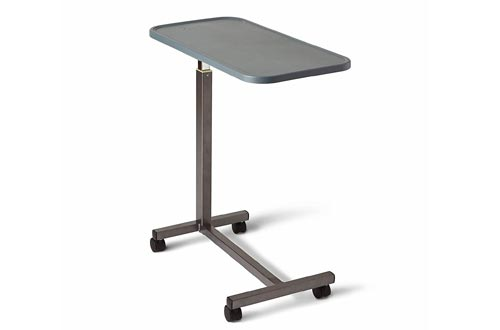 Medline - n Adjustable Overbed Bedside Tables with Wheels, Great for Hospital Use or At Home as Bed Tray, Composite Tables Top