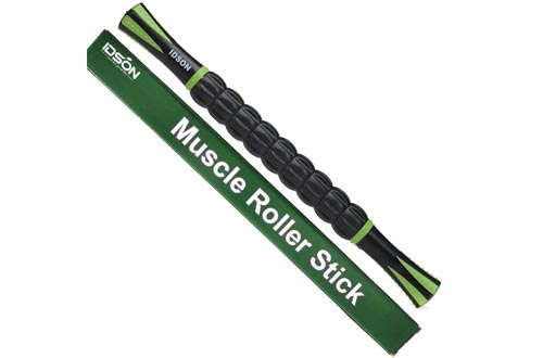 Idson Muscle Roller Sticks for Athletes- Body Massage Sticks Tools-Muscle Roller Massager for Relief Muscle Soreness,Cramping and Tightness,Help Legs and Back Recovery,Black Green
