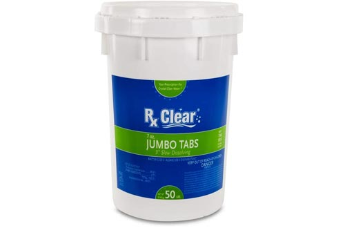 Rx Clear 3-Inch Stabilized Chlorine Tablets | One 50-Pound Bucket | Use As Bactericide, Algaecide, and Disinfectant in Swimming Pools and Spas | Slow Dissolving and UV Protected