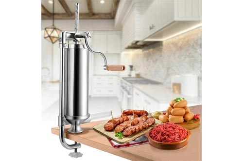 Sausage Stuffers Stainless Steel, Sausage Maker, Stainless Steel Meat Filler (3 L/5 LBS VERTICAL)