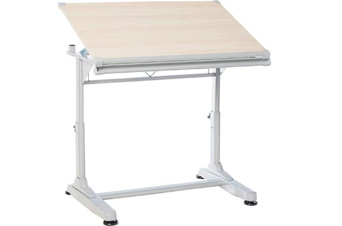 "Stand Up Desk Store Height Adjustable Drawing and Drafting Tables with 39.2"" W x 27.5"" D Surface, Silver Frame with Birch Top"