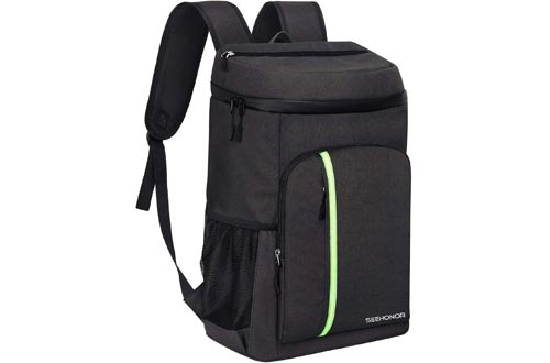 SEEHONOR Insulated Coolers Backpack Leakproof Soft Coolers Bag Lightweight Backpack with Coolers for Lunch Picnic Hiking Camping Beach Park Day Trips, 30 Cans (Black)