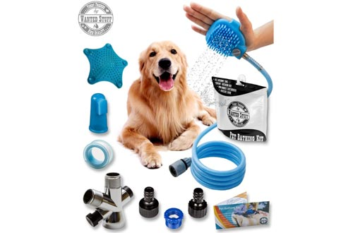 Wantedstuff 3 in 1 Pet Showers Kit with Free Dental Finger Brush | Dog Showers Sprayer, Adjustable Bath Glove, Clean, Massage & Remove Hair | Showers Attachment for Indoor & Outdoor Use | Pet-Friendly