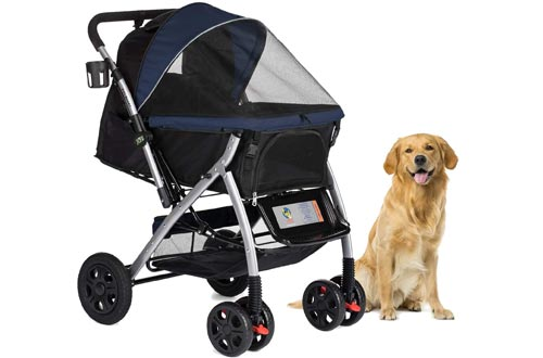 HPZ Pet Rover Premium Heavy Duty Dog/Cat/Pet Strollers Travel Carriage with Convertible Compartment/Zipperless Entry/Reversible Handlebar/Pump-Free Rubber Tires for Small, Medium, Large Pets