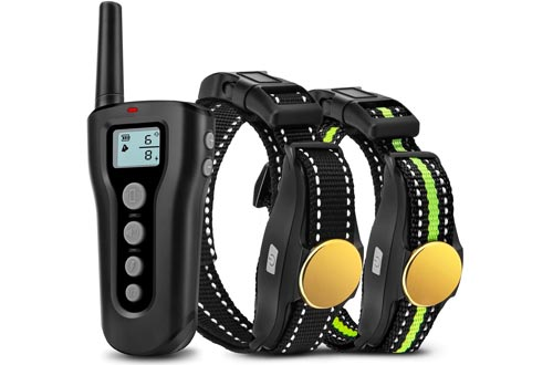 Bousnic Dog Training Collars 2 Dogs Upgraded 1000ft Remote Rechargeable Waterproof Electric Shock Collars with Beep Vibration Shock for Small Medium Large Dogs (15lbs - 120lbs)