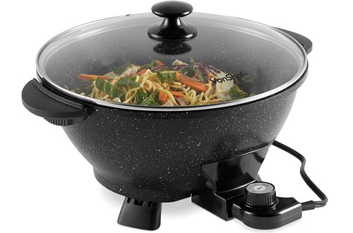 VonShef 7.4Qt Electric Woks with Lid – Adjustable Temperature Control – Cool Touch Handles – Non-Stick, Easy Clean Frying Pan - 14 Inch