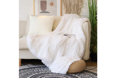 "Decorative Extra Soft Faux Fur Throw Blankets 50"" x 60"",Solid Reversible Fuzzy Lightweight Long Hair Shaggy Blankets,Fluffy Cozy Plush Fleece Comfy Microfiber Fur Blankets for Couch Sofa Bed,Pure White"