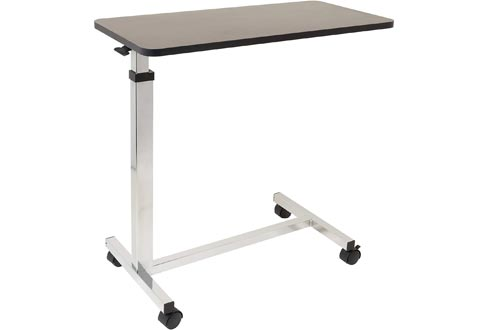 Non-Tilt Overbed Tables with Wheels - 15 x 30 inches Height Adjustable Hydraulic - Locking Caster Wheels - Laptop Tables for Bed, Bed Trays for Eating, Built to Hospital Bed Tables Standards