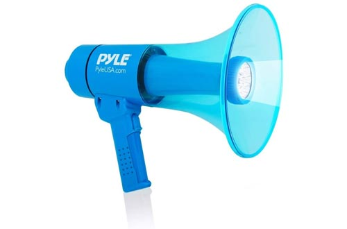 Waterproof Megaphones Bullhorn and Flashlight - Portable Compact 40W PA Includes Rechargeable Battery, Alarm Siren, Adjustable Volume, Handheld Lightweight Speaker, LED - Pyle PMP67WLTB, Black