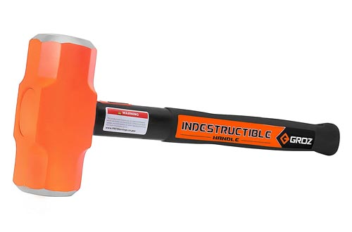 GROZ Heavy Duty 8lb Sledge Hammers with 16-Inch Indestructible Handle | Hard Face Steel Head 52 HRC | Steel Locking Plate | Hi-Visibility Head | Vulcanized Rubber Handle (34523)