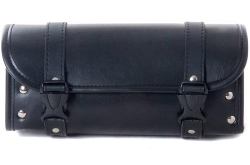 Motorcycle Bags, Saddlebags with Leather Shell, Black Handlebar Bags