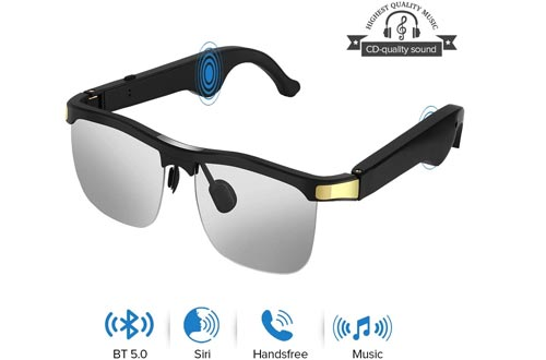 Elikliv Wireless Audio Sunglasses, Open Ear Smart Glasseses with Blue Tooth 5.1, Listen Music, Hands-Free Calls, Voice Assistant, Blue Light Blocking Lenses, Compatible with iOS Android Devices