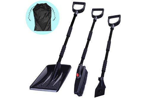 3-in-1 Snow Brush Kit, Collapsible Snow Brush with Ice Scraper and Snow Shovels, Emergency Snow Removal Car Set, Portable Snow Remover for Truck, Camping, Backyard, with Carrying Bag