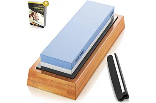 Sharp Pebble Premium Whetstone Knife Sharpening Stones 2 Side Grit 1000/6000 Waterstone | Best Whetstone Sharpener | NonSlip Bamboo Base & Angle Guide