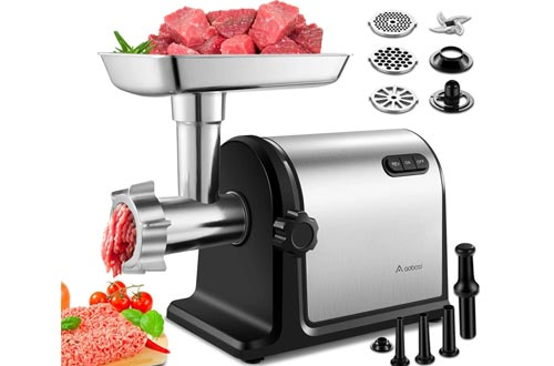 Aobosi Electric Meat Grinders 【2000W Max 】Heavy Duty Stainless Steel Meat Mincer with 3 Grinding Plates, 3 Sausage Stuffer Tubes & Kubbe Attachments,Easy One-Button Control