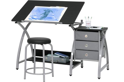 """2 Piece Comet Art, Hobby, Drawing, Drafting, Craft Tables with 36""""W x 23.75""""D Angle Adjustable Top and Stool in Silver/Black, Assembled Dimensions: 50"""" W x x 29.5"""" H"""