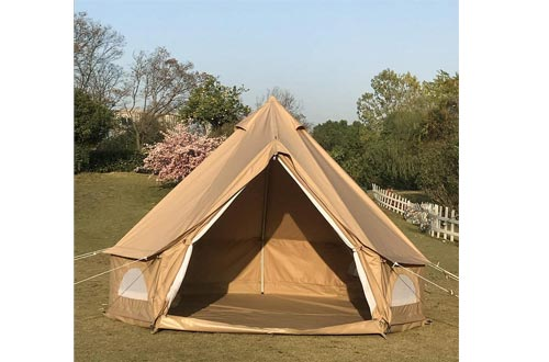 Dream House Diameter 3 Meter Waterproof Ripstop Polyester Cotton Plaid Cloth Tripod Frame Camping Bell Tents Central-Pole-Free Easily Contain a Queen Size Air Mattress