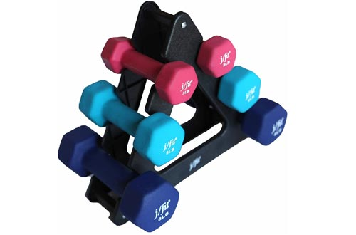 j/fit Dumbbell Sets w/Durable Rack | Solid Design | Double Neoprene Coated Workout Weights Non-Chip and Flake | Dumbbells Sets For Gyms, Pilates, MMA, Training, Schools, Rehabilitation Centers