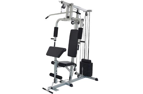 Sporzon! Home Gyms System Workout Station with 330LB of Resistance, 125LB Weight Stack, Gray