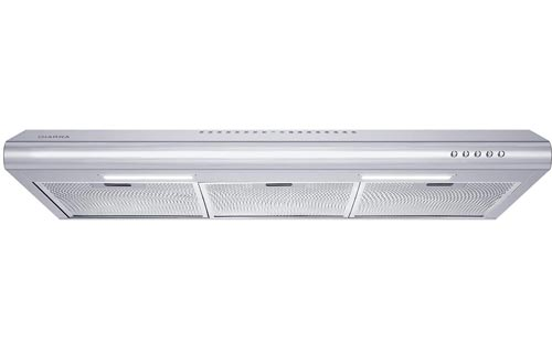 CIARRA CAS75918B 30 inch Under-Cabinet Range Hoods Stainless Steel Slim Kitchen Stove Vent Hoods with 200 CFM, 3 Speed Exhaust Fan, Reusable Aluminum Filters, Ducted/Ductless Convertible, Push Button