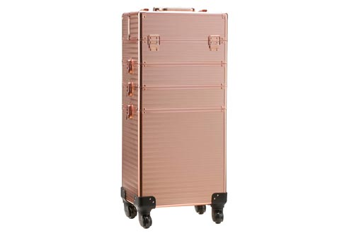 Rolling Train Cases 4-in-1 Portable Makeup Train Cases Professional Cosmetic Organizer Makeup Traveling case Trolley Cart Trunk(Rose Gold)