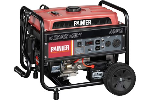 Rainier R4400 Portable Generators with Electric Start - 4400 Peak Watts & 3600 Rated Watts - Gas Powered - CARB Compliant