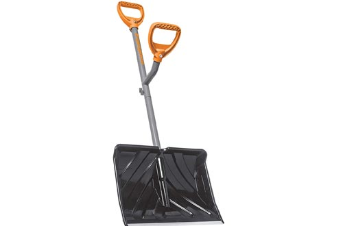 ErgieShovel ERG-SNSH18 18-Inch Impact Resistant Blade Push/Scoop Combination Snow Shovels, Orange