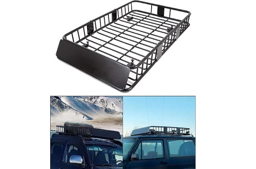 """ECOTRIC 64"""" Universal Black Roof Racks Cargo Carrier Car Top Luggage Holder with Extension Carrier Basket SUV Storage for Travel"""